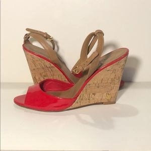 Tory Burch red patent wedges